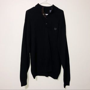 Chaps black polo sweater with faux suede patches